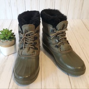 Sorell Olive Green Lined Waterproof Duck Boots